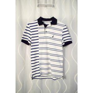 NWT NAUTICA Slim Fit Stripe Collar Polo Tshirt